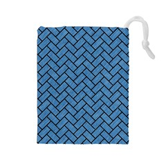 Brick2 Black Marble & Blue Colored Pencil (r) Drawstring Pouch (large) by trendistuff