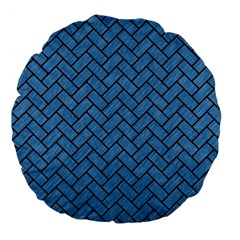 Brick2 Black Marble & Blue Colored Pencil (r) Large 18  Premium Flano Round Cushion  by trendistuff