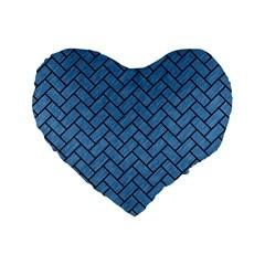 Brick2 Black Marble & Blue Colored Pencil (r) Standard 16  Premium Flano Heart Shape Cushion  by trendistuff