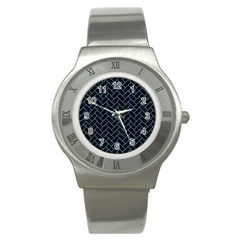 Brick2 Black Marble & Blue Colored Pencil Stainless Steel Watch by trendistuff