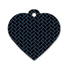Brick2 Black Marble & Blue Colored Pencil Dog Tag Heart (two Sides) by trendistuff