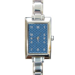 Brick1 Black Marble & Blue Colored Pencil (r) Rectangle Italian Charm Watch by trendistuff