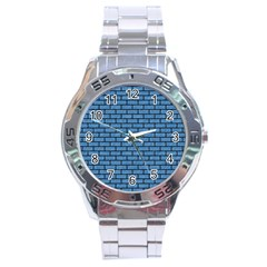 Brick1 Black Marble & Blue Colored Pencil (r) Stainless Steel Analogue Watch by trendistuff