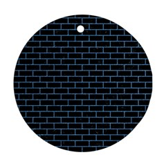 Brick1 Black Marble & Blue Colored Pencil Round Ornament (two Sides) by trendistuff
