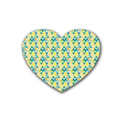 Colorful Triangle Pattern Rubber Coaster (heart)  by berwies