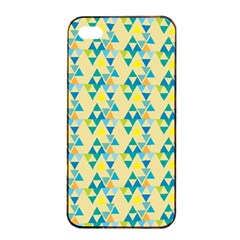 Colorful Triangle Pattern Apple Iphone 4/4s Seamless Case (black) by berwies