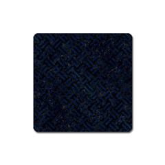 Woven2 Black Marble & Blue Grunge Magnet (square) by trendistuff