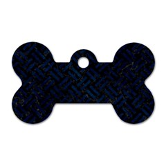Woven2 Black Marble & Blue Grunge Dog Tag Bone (two Sides) by trendistuff