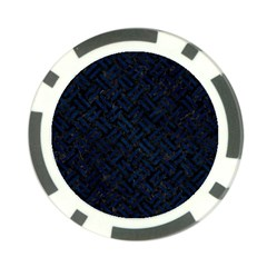 Woven2 Black Marble & Blue Grunge Poker Chip Card Guard by trendistuff