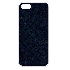 Woven2 Black Marble & Blue Grunge Apple Iphone 5 Seamless Case (white) by trendistuff