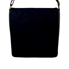 Woven2 Black Marble & Blue Grunge Flap Closure Messenger Bag (l) by trendistuff