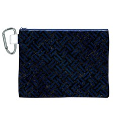 Woven2 Black Marble & Blue Grunge Canvas Cosmetic Bag (xl) by trendistuff