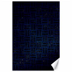 Woven1 Black Marble & Blue Grunge (r) Canvas 12  X 18  by trendistuff