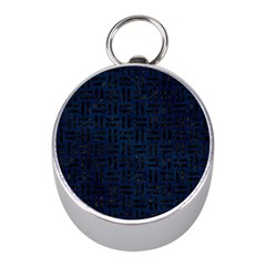 Woven1 Black Marble & Blue Grunge (r) Silver Compass (mini) by trendistuff