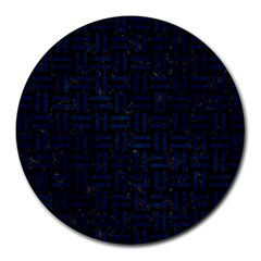 Woven1 Black Marble & Blue Grunge Round Mousepad by trendistuff
