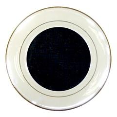 Woven1 Black Marble & Blue Grunge Porcelain Plate by trendistuff