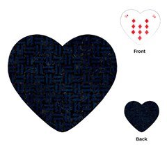 Woven1 Black Marble & Blue Grunge Playing Cards (heart) by trendistuff
