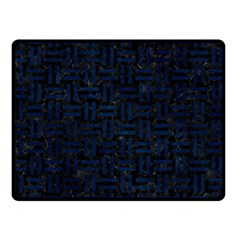 Woven1 Black Marble & Blue Grunge Double Sided Fleece Blanket (small) by trendistuff