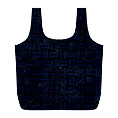 Woven1 Black Marble & Blue Grunge Full Print Recycle Bag (l) by trendistuff