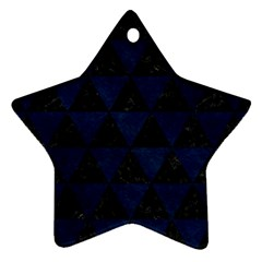 Triangle3 Black Marble & Blue Grunge Ornament (star) by trendistuff