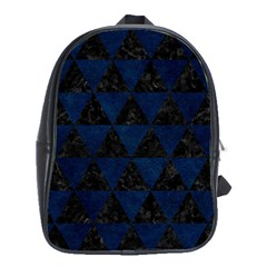 Triangle3 Black Marble & Blue Grunge School Bag (large) by trendistuff