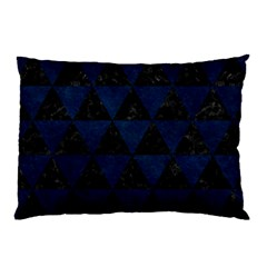 Triangle3 Black Marble & Blue Grunge Pillow Case (two Sides) by trendistuff