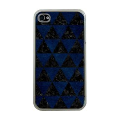 Triangle3 Black Marble & Blue Grunge Apple Iphone 4 Case (clear) by trendistuff