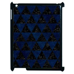 Triangle3 Black Marble & Blue Grunge Apple Ipad 2 Case (black) by trendistuff