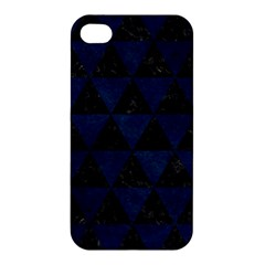 Triangle3 Black Marble & Blue Grunge Apple Iphone 4/4s Premium Hardshell Case by trendistuff