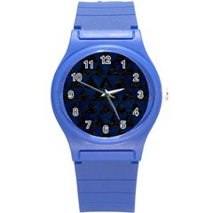 Triangle3 Black Marble & Blue Grunge Round Plastic Sport Watch (s) by trendistuff