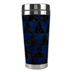 Triangle3 Black Marble & Blue Grunge Stainless Steel Travel Tumbler by trendistuff