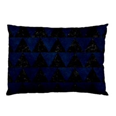 Triangle2 Black Marble & Blue Grunge Pillow Case by trendistuff