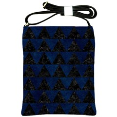 Triangle2 Black Marble & Blue Grunge Shoulder Sling Bag by trendistuff