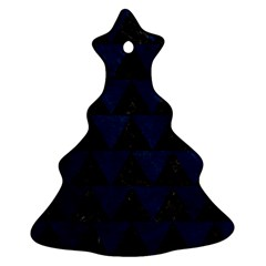 Triangle2 Black Marble & Blue Grunge Christmas Tree Ornament (two Sides) by trendistuff