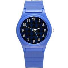 Triangle2 Black Marble & Blue Grunge Round Plastic Sport Watch (s) by trendistuff