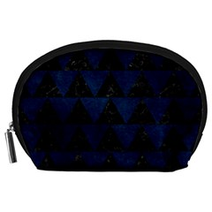 Triangle2 Black Marble & Blue Grunge Accessory Pouch (large) by trendistuff