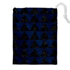 Triangle2 Black Marble & Blue Grunge Drawstring Pouch (xxl) by trendistuff