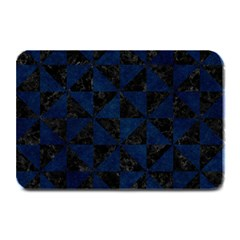 Triangle1 Black Marble & Blue Grunge Plate Mat by trendistuff