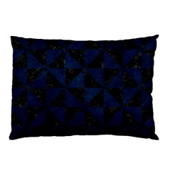 Triangle1 Black Marble & Blue Grunge Pillow Case by trendistuff