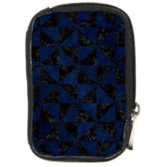 Triangle1 Black Marble & Blue Grunge Compact Camera Leather Case by trendistuff