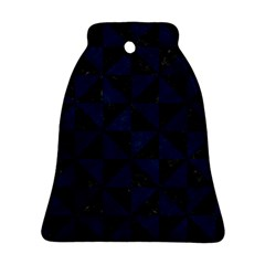 Triangle1 Black Marble & Blue Grunge Bell Ornament (two Sides) by trendistuff