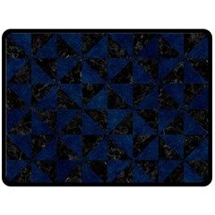 Triangle1 Black Marble & Blue Grunge Double Sided Fleece Blanket (large) by trendistuff