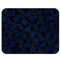 Triangle1 Black Marble & Blue Grunge Double Sided Flano Blanket (medium) by trendistuff