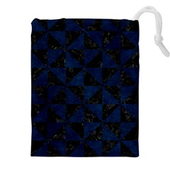 Triangle1 Black Marble & Blue Grunge Drawstring Pouch (xxl) by trendistuff
