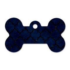 Tile1 Black Marble & Blue Grunge (r) Dog Tag Bone (two Sides) by trendistuff