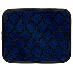 Tile1 Black Marble & Blue Grunge (r) Netbook Case (large) by trendistuff
