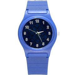 Tile1 Black Marble & Blue Grunge (r) Round Plastic Sport Watch (s) by trendistuff