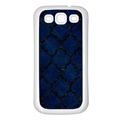 Tile1 Black Marble & Blue Grunge (r) Samsung Galaxy S3 Back Case (white) by trendistuff