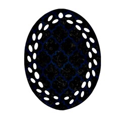 Tile1 Black Marble & Blue Grunge Oval Filigree Ornament (two Sides) by trendistuff