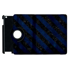 Stripes3 Black Marble & Blue Grunge (r) Apple Ipad 3/4 Flip 360 Case by trendistuff